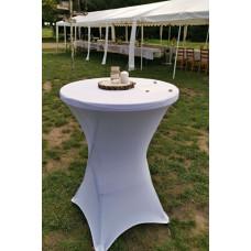 Bistro stůl kulatý koktejlový + elastický ubrus bílý